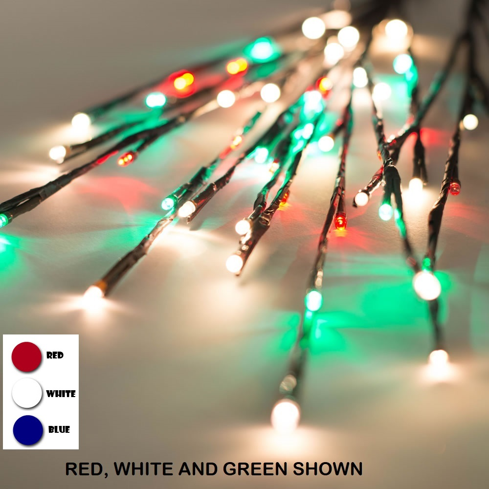 60 Patriotic LED 5MM Wide Angle Red White and Blue Twig Lights Brown Wire - 3 per Set