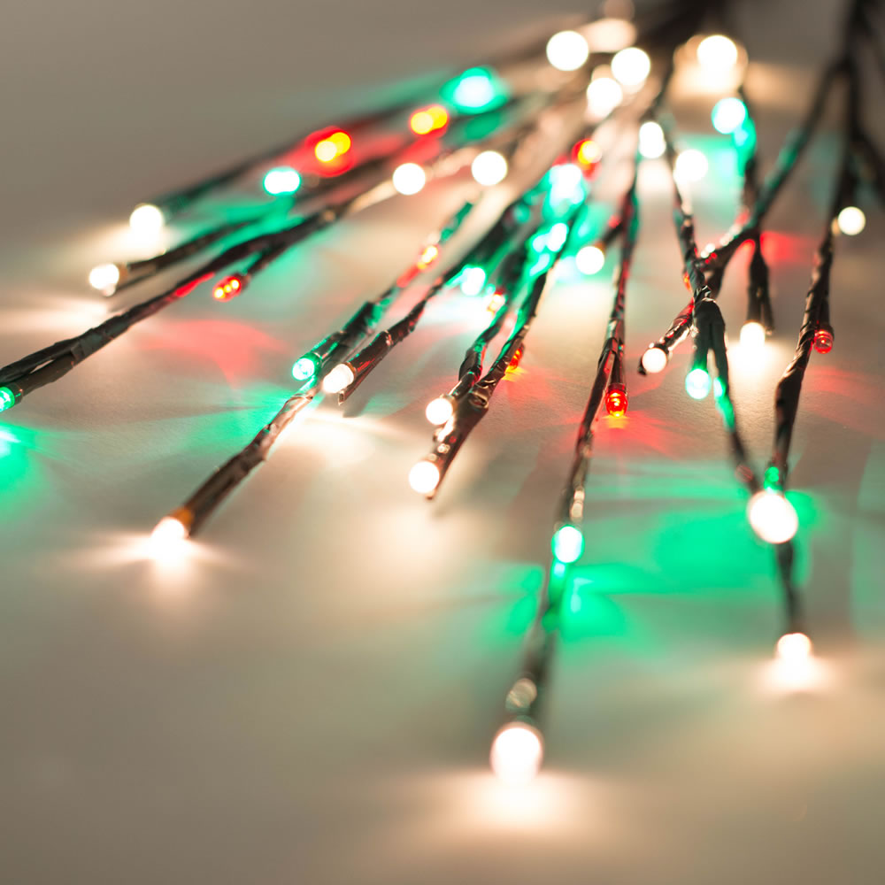 60 LED 5MM Wide Angle Red Frosted Warm White and Green Twig Lights Brown Wire - 3 per Set