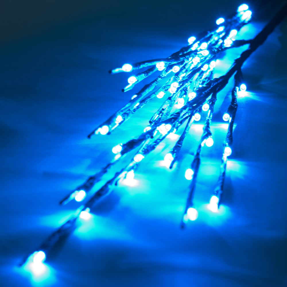 60 LED 5MM Wide Angle Teal Twig Lights Brown Wire - 3 per Set