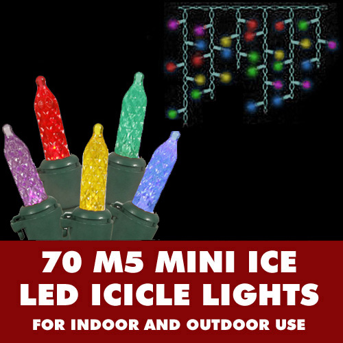 70 Commercial Grade LED M5 Italian Faceted Multi Color Icicle Light Set Green Wire