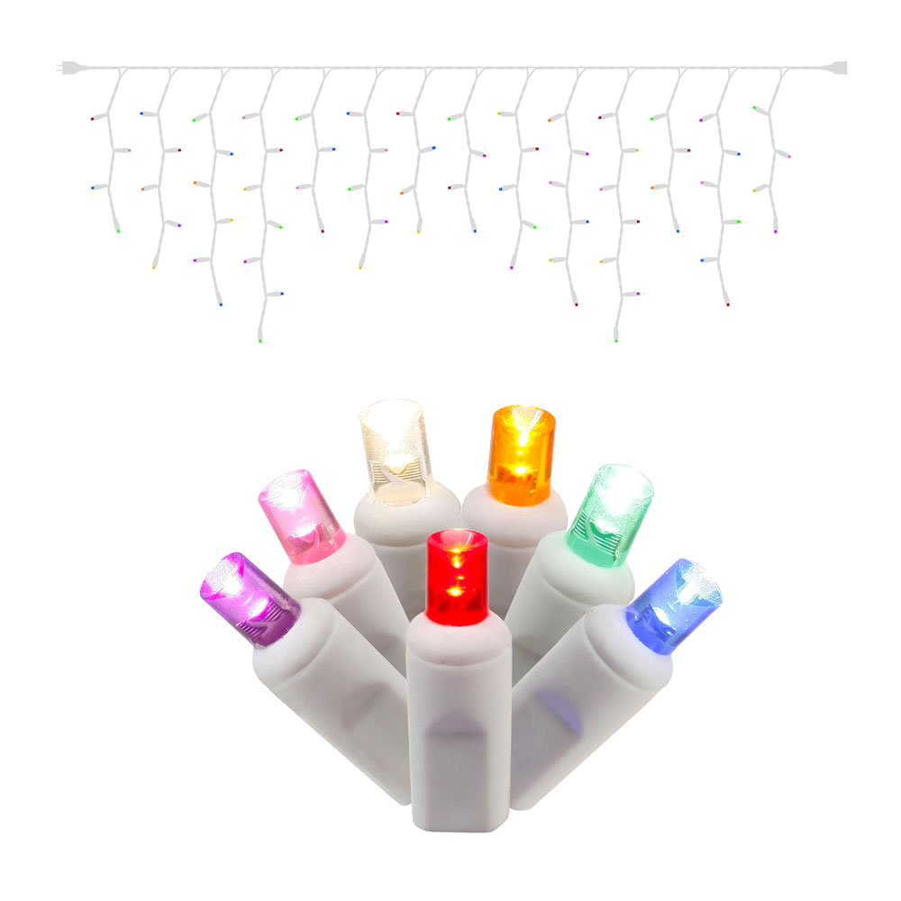 70 LED 5MM Wide Angle Polka Dot Multi Color Icicle Light Set 3.5 Inch Bulb Spacing White Wire