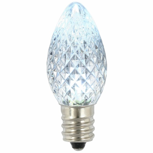 25 LED C7 Cool White Faceted Retrofit Night Light String Replacement Bulbs