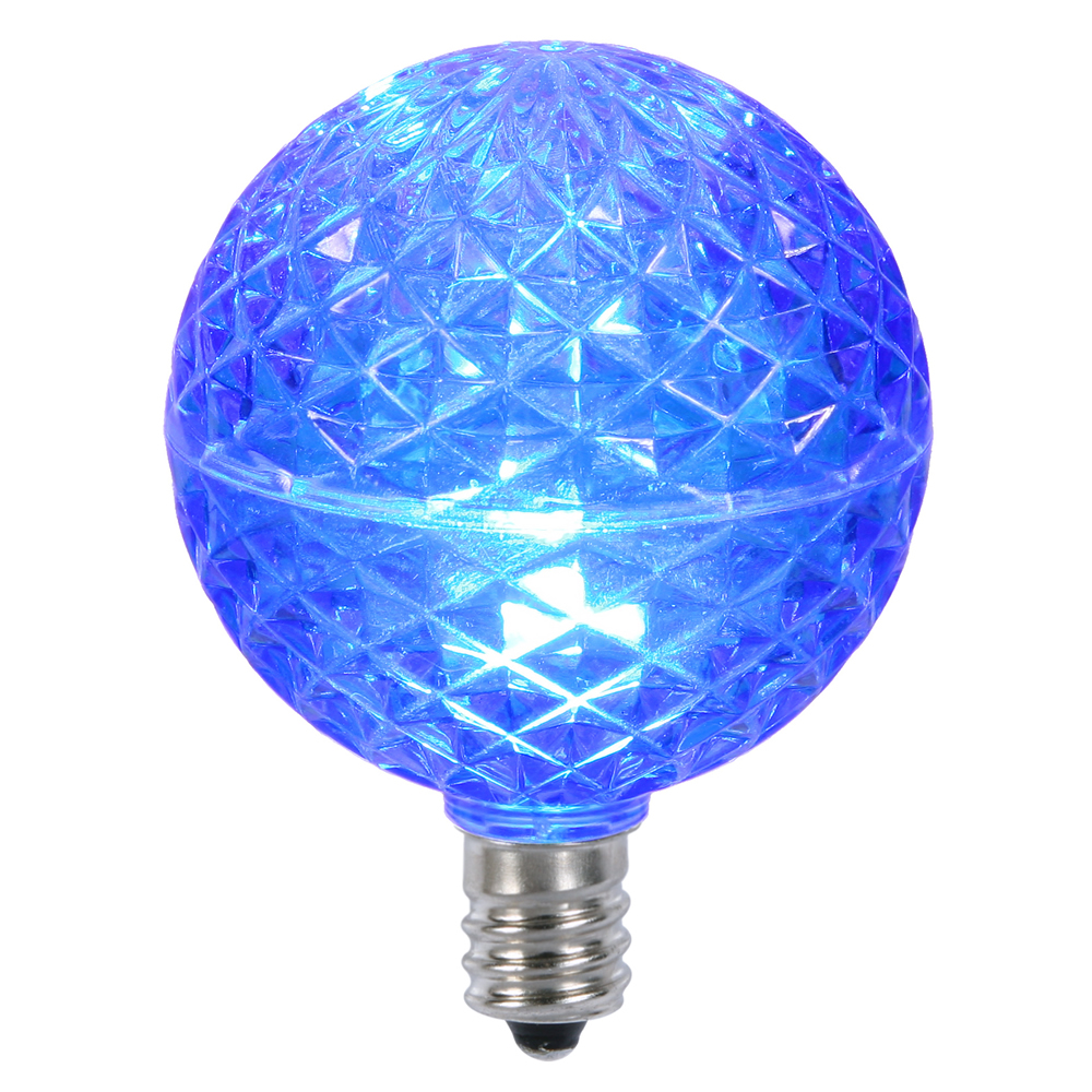10 LED G50 Globe Blue Faceted Retrofit C7 E12 Socket String Light Set Replacement Bulbs