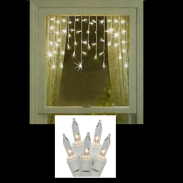 50 Clear Window Icicle Light Set White Wire Pack of 12