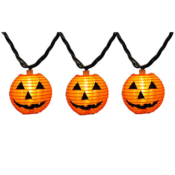 10 Fabric JackOLantern Pumpkin Halloween String Lights 12 Inch Spacing Black Wire