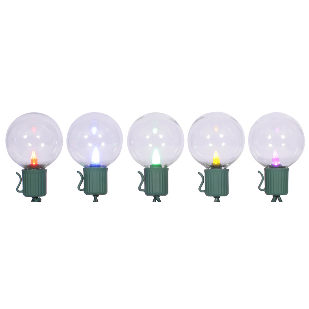 10 LED Multi G40 Globe Lights Green Wire