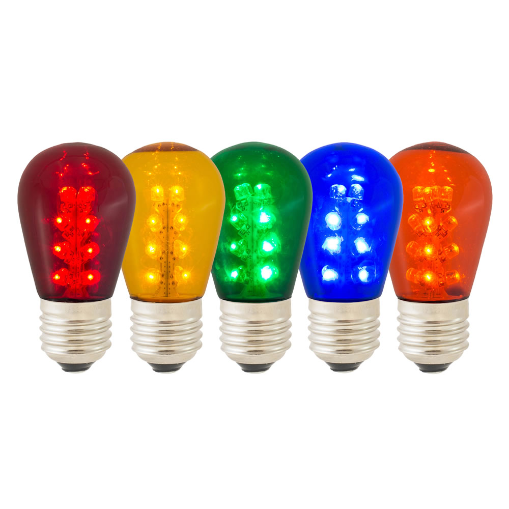 25 LED S14 Patio Transparent Multi Color Retrofit Replacement Bulbs