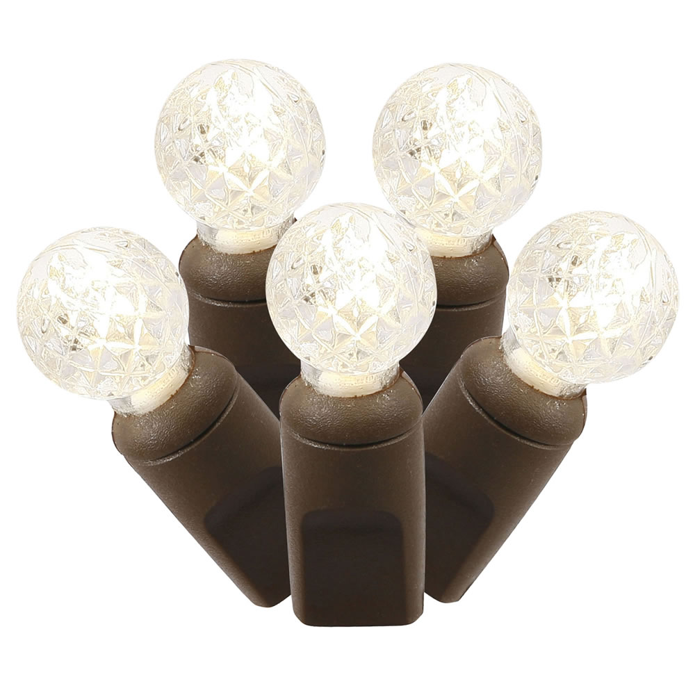 100 Commercial Grade LED G12 Faceted Berry Warm White String Light Set Brown Wire Polybag